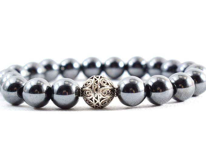 Unisex Bracelet with Hematite beads and Sterling Silver.