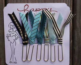 Planner Clips, Planner accessories, Happy Planner clips, teal,black & cream diary accessories, Ribbon Planner Clip, journaling, SET of 5