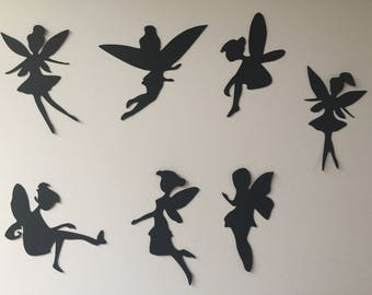 7 stunning fairy silhouette die cuts for fairy jars, card making, scrapbooking.