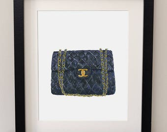 Chanel, Classic Flap Bag, Black Bag, Fashion Art, Quilted Bag, Watercolour Print, Watercolor Bag, Haute Couture Wall Art, Gift for Her