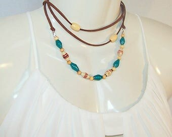 Layered Necklace Choker Wrap Necklace Lariat Wrap Suede Necklace