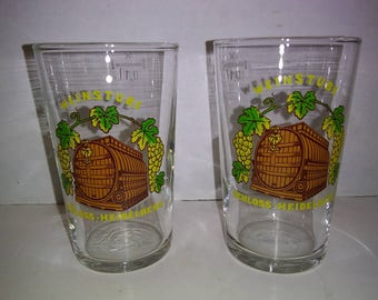 Set of 2 vintage Weinstube double shot glasses. German shot glasses. Schloss-Heidelberg. Vintage double shot glasses. Vintage liquor glass