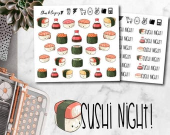 30% OFF Summer Sale - Sushi Night Kawaii Planner Stickers - Cute sushi dinner date stickers. Happy planner, Erin condren, recollections, fil