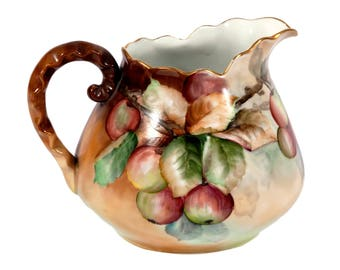 FREE SHIPPING: Vintage Hand Painted Porcelain Cider Pitcher with Apples - Mint Condition China Lemonade Pitcher