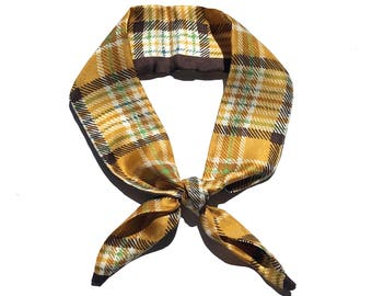 yellow check pattern petit twilly scarf