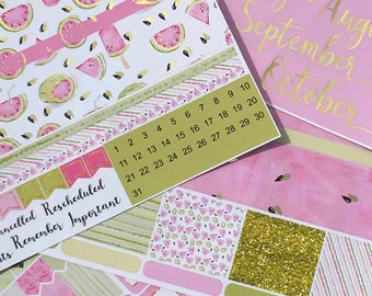 Gold Foiled Watermelon July to October Classic HAPPY PLANNER MONTHLY Spread Decorative Sticker Set