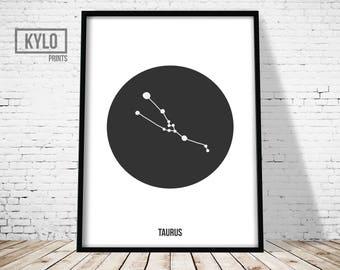 Taurus Print, Constellation Print, Zodiac Wall art, Astrology Poster, Geometric Print, Scandinavian Art, Nursery Decor, Taurus Poster