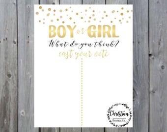 Gender reveal sign | Cast your vote gender reveal sign | Gender reveal printable signs | Gender reveal gold | Gold gender reveal |