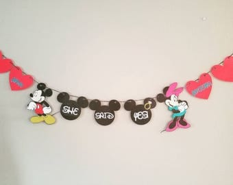 Disney engagement banner, Disney engagement window decor, she said yes! , Mickey and Minnie engagement decor, wdw, Disney,  congrats