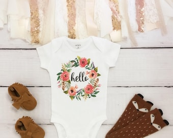 boho baby clothes, hello baby bodysuit, cute baby clothes, baby reveal bodysuit, baby announcement bodysuit, cute baby clothes