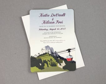 Kampenwand Mountain Germany with Cable Car 5x7 Wedding Invitation