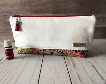 Perfect Essential Oil Pouch /White Twill/ Rainbow cork EO bag