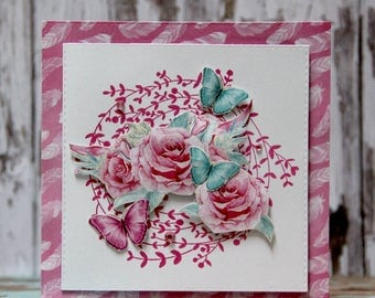 Card with tuquiose butterflies and romantic roses