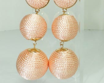 Triple Ball Drop Earrings - Thread wrapped earring - Dangel Earrings - Trendy Earrings - Drop Earrings - Summer Trends - Gifts for Her