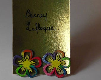 Earrings chips multicolored flowers