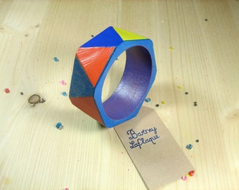 """Facets"" hand painted wooden Bangle Bracelet"