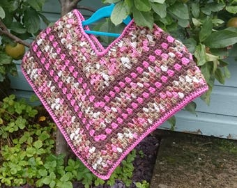 Crochet girl's granny shawl in mix of pink, brown and multi yarn for winter