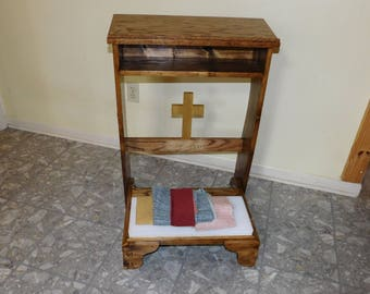 Wood prayer bench, Prayer bench, Kneeler, Prie Dieu, Christian Bible stand, home altar