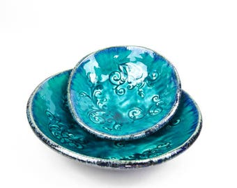 Ceramic bowls, floral bowl, set of bowls, handmade pottery, weeding gift, handmade bowl, turquoise bowls, serving bowls, pottery handmade