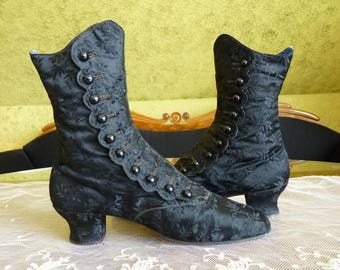 1870 Evening boots, Victorian shoes, Victorian boots, High button boots, antike Stiefel, antike Schuhe