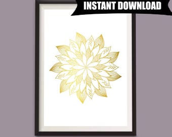 Gold and White Wall Art, Abstract Print, Gold Abstract Art, Download Art, Download Print, Mandala Digital Download, Gold Instant Print (P6)