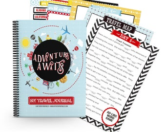 Kid's Travel Journal 2 Week INSTANT DOWNLOAD, Road trip, Kids Activity,Travel Diary, Family Travel, Travel Notebook, Kids travel journal,