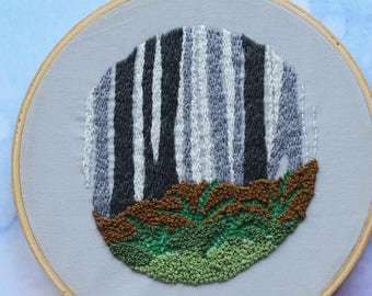 """Woodland with ferns embroidery hoop art in 6"""" hoop. Home decor; embroidered art; rustic nature scene"""