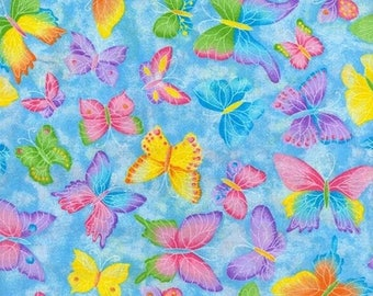 Blue Butterfly Fabric, Glitter Fabric, Blue Fabric, Baby Girl Fabric, Cotton Quilting Fabric, Modern Quilt Fabric, Fat Quarter, Half Yard