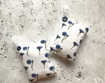 Watercolor Cornflower Art on Lavender Pillow -Set of 2