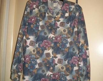 Vintage 80s Multi-Color Floral, Geometric Pattern Blouse Size 20