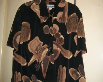 Vintage 80's, 90's Black Abstract Blouse Size 20