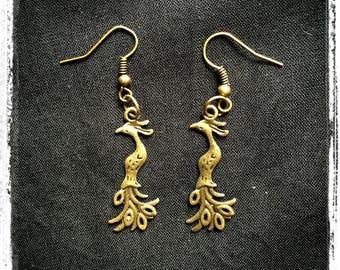 Earrings - Peacock - Peacock Earrings peacock - Peacoks - birds - Birds