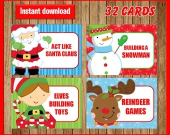Printable Christmas Game Cards for Pictionary or Charades, Hangman, 32 cards, INSTANT DOWNLOAD