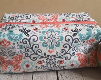 Medium Sized Project Box Bag for Knitting or Crochet; Toiletry or Makeup Bag - Papillion