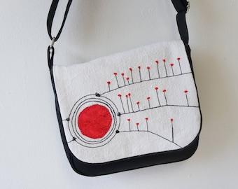Handbag, Hobo, shoulder bag women, black, red, vintage, red and black