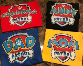 Paw Patrol Inspired Colored Adult Family Tshirt