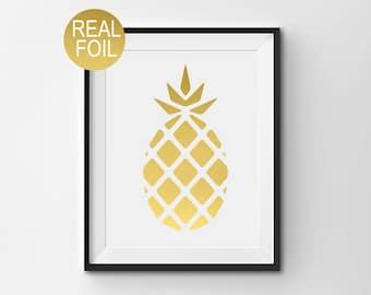 "Real Gold Foil Print, ""Pineapple"", Wall Art, Gold Home Decor, Gold Office Decor, Bedroom Art, Pineapple Print, Modern Print, Kitchen Print"