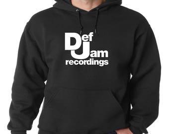 Def Jam Recordings Logo Hoodie Classic Vintage Style Hip Hop Fleece Sweatshirt New York 80s Hip Hop Rap Music DJ New