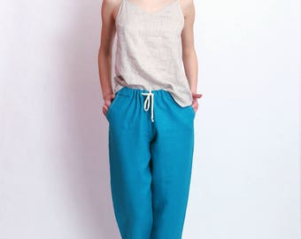 Blue linen capris Washed women linen trousers Slightly linen pants Women's pants
