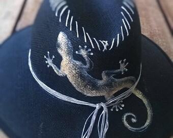 "Handpainted hat ""Lizard"""
