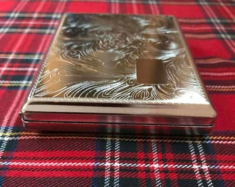 New And Taboo....Beautifully Engraved Silver King Size Cigarette Case