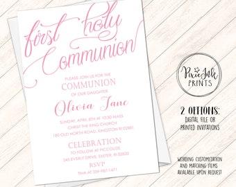 Pink Communion Invitation, Girl Communion Invitation, Simple Pink Communion Invite, DIY 1st Communion Printable, Simple Communion Invitation