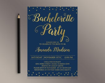 Bachelorette Party Invitation, Navy and gold Bachelorette invite, Digital Printable Invitations, Hens party invites, Bachelorette Weekend