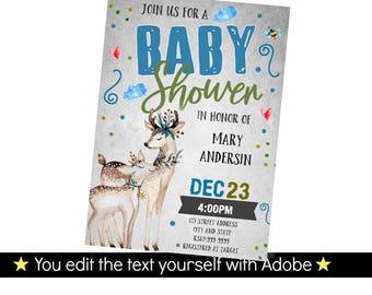 Deer Invitation - Deer Baby Shower Invitation - Printable Baby Shower Invitation - Deer Baby Shower - INSTANT DOWNLOAD