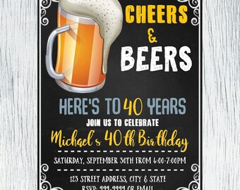Cheers and Beers Birthday Invitation - Cheers and Beers Invitation - Birthday Invitation - Cheers and Beers Invite -  INSTANT DOWNLOAD