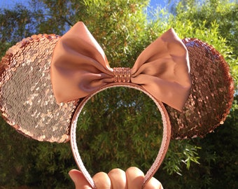 Rose Gold, reversible Rose Gold sequins, sequins, Rose Gold Minnie Mouse ears, Disney inspired ears