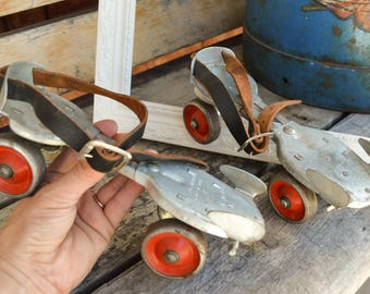 Vintage Roller Skates, Dominion Skate Co, Steel Wheels, Original Leather Straps, Adjustible Size, Clamp-On, Mid Century, 1950s, Gift for Her