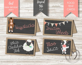 Farm Animals Birthday Party FOOD LABELS/ Tent Cards/Barnyard Girl Birthday Party/Party Decoration/DIY/Printable File/Digital/Old Macdonald