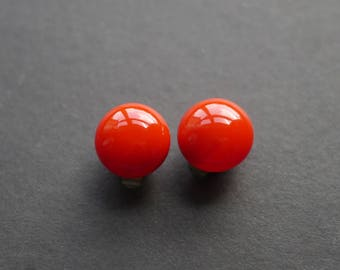 Bright red scarlet clip on earrings