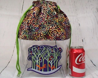 Fox Knitting Crochet Drawstring Clear Embroidered Project Bag, Large. Clear Vinyl Knitting Bag.